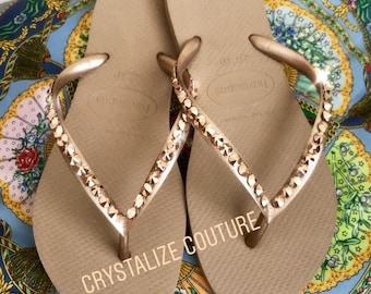 b397a47cc3441 Luxe Rose Gold edition Havaianas embellished in Swarovski crystals   bling flip  flops by Crystalize Couture