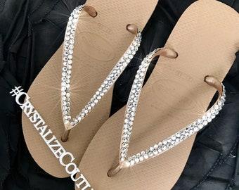b8a309625d926 Havaianas embellished in Swarovski crystals   bling flip flops