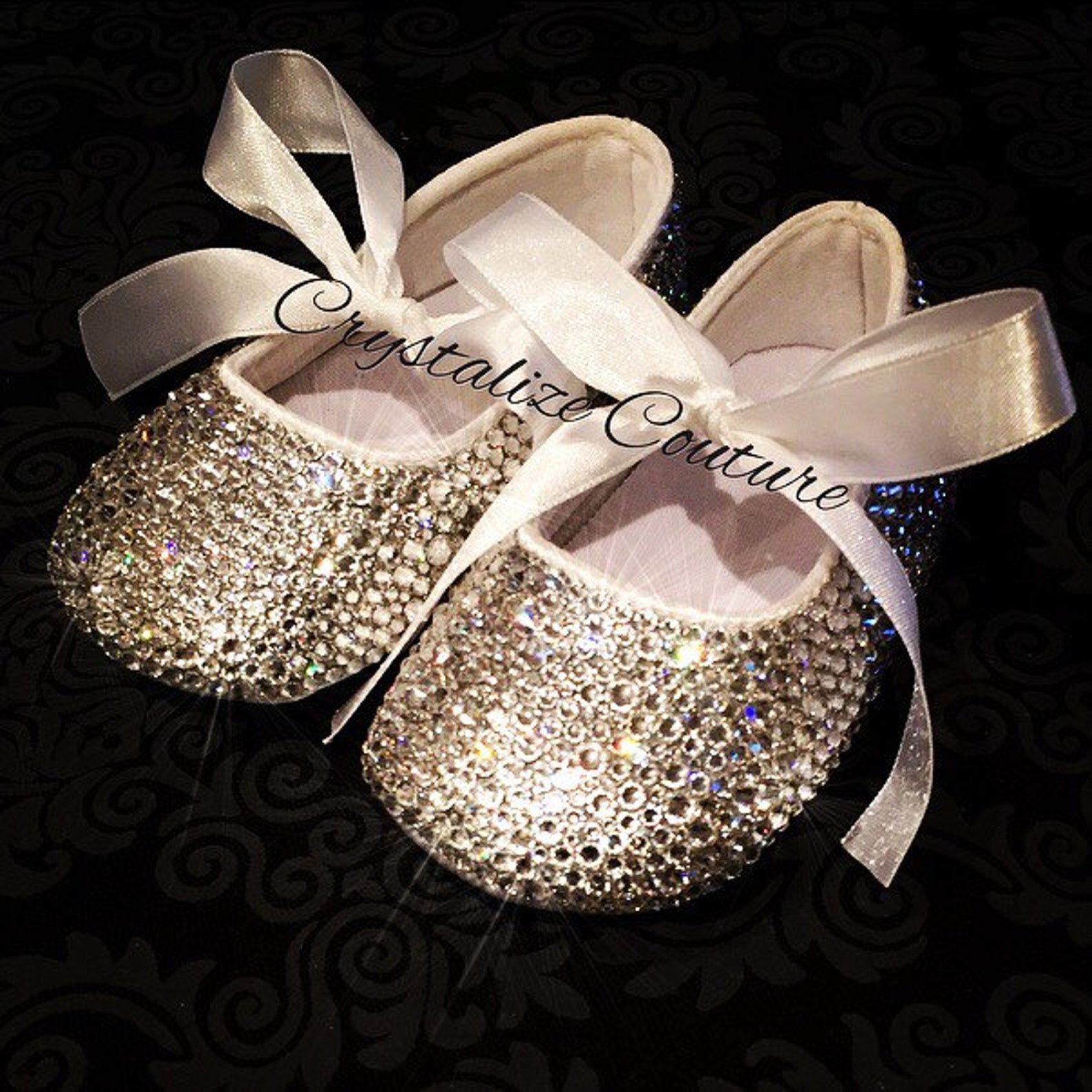 baby flats embellished in swarovski crystals, perfect for christening or birthday, ballet flats, baby booties, baby shoes, baby