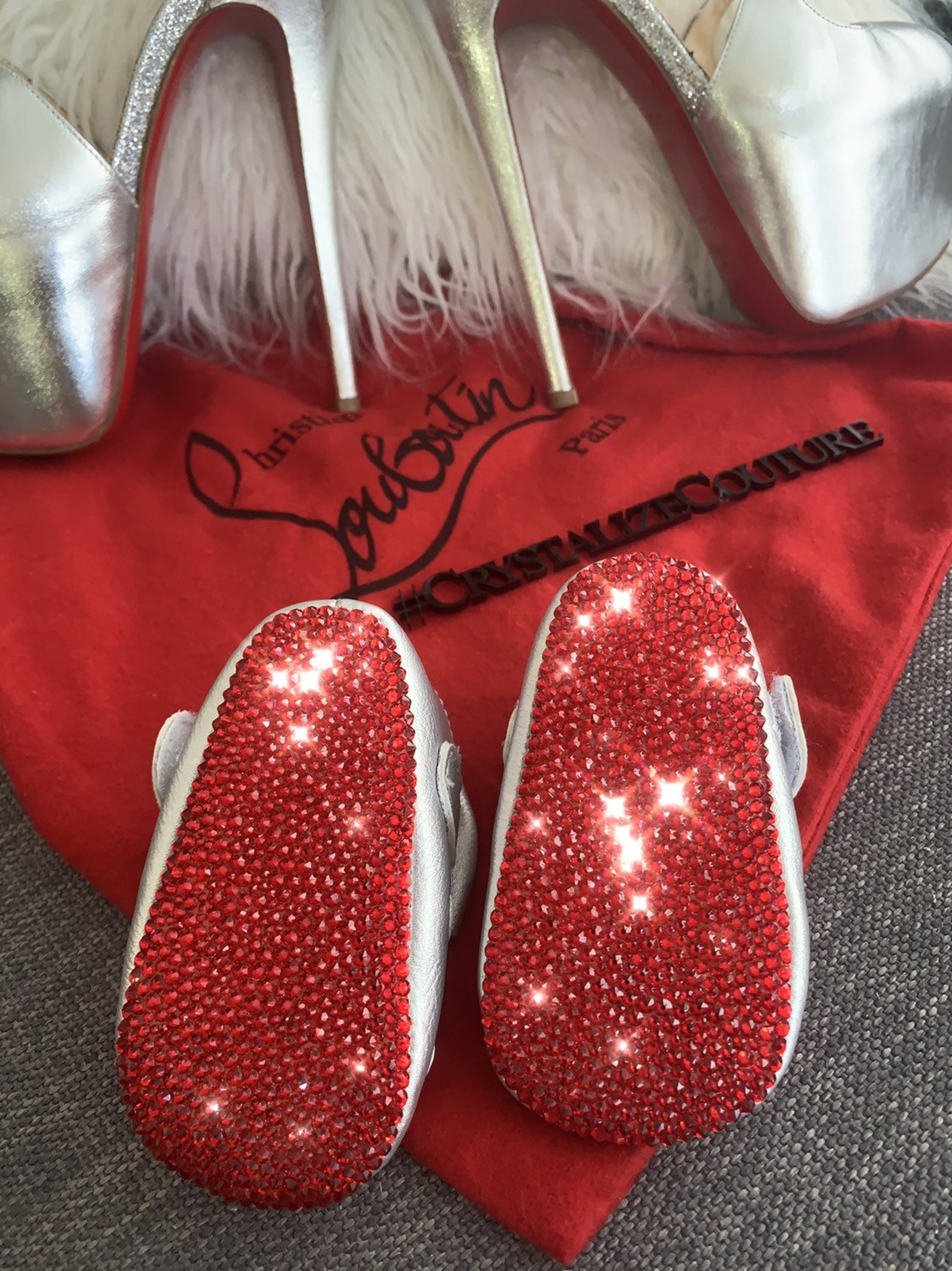 red bottom baby flats embellished in swarovski crystals, perfect for christening or birthday, ballet flats, baby booties, baby s