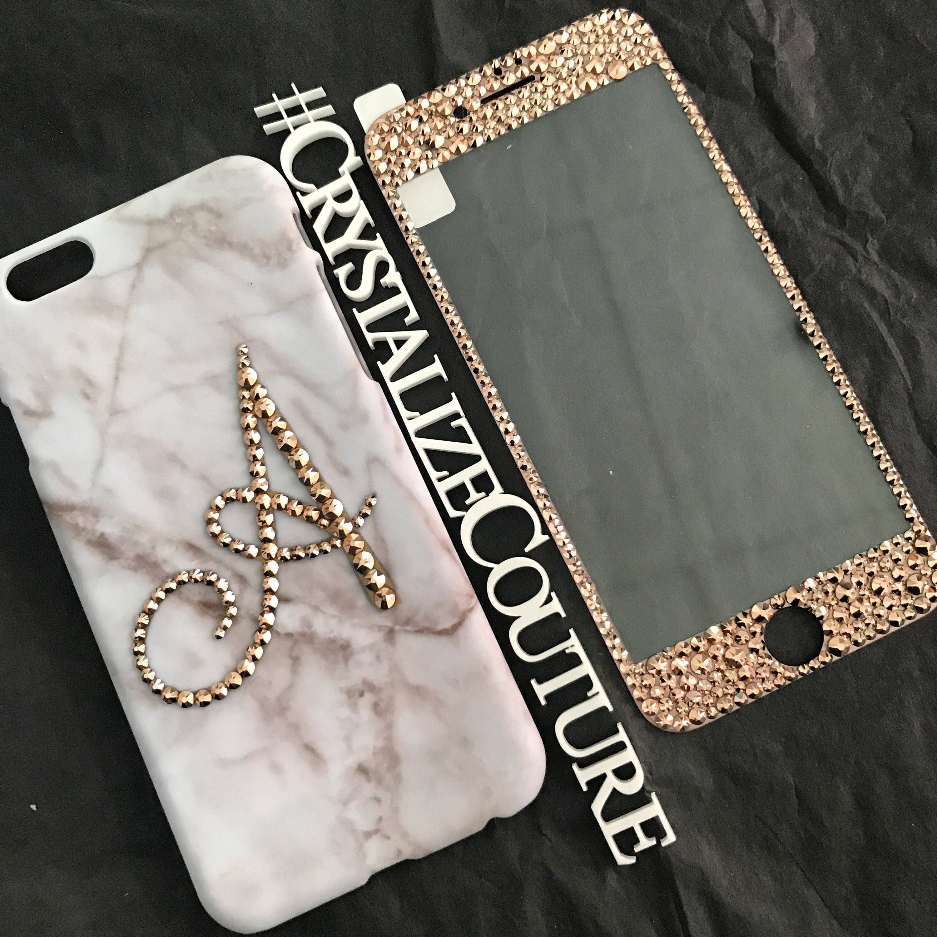 separation shoes fa8af 83ef2 Marble with rose gold, phone case and glass screen protector combo  embellished in genuine Swarovski crystals by Crystalize Couture