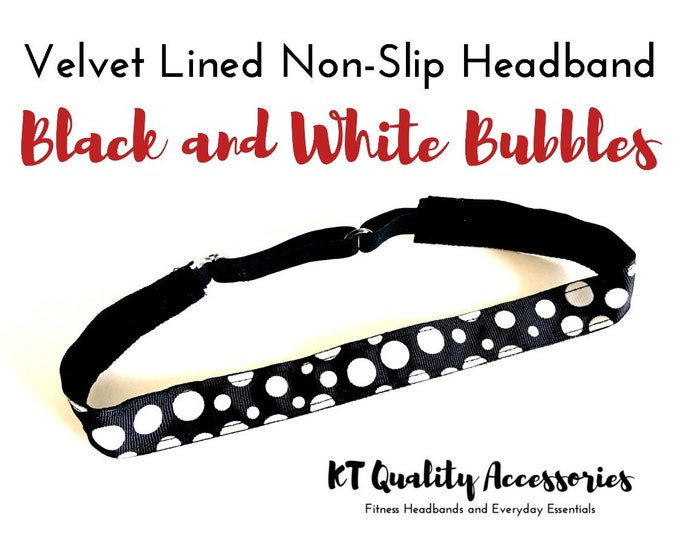 Running Headband,  Fitness Headband, Workout Headband, Nonslip, No Slip Sports Headband, Adjustable, Black and White Polka Dots