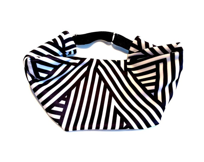 Black and White Lines Print Adjustable Head Wrap: Perfect moisture wicking, performance headband for tough workouts!