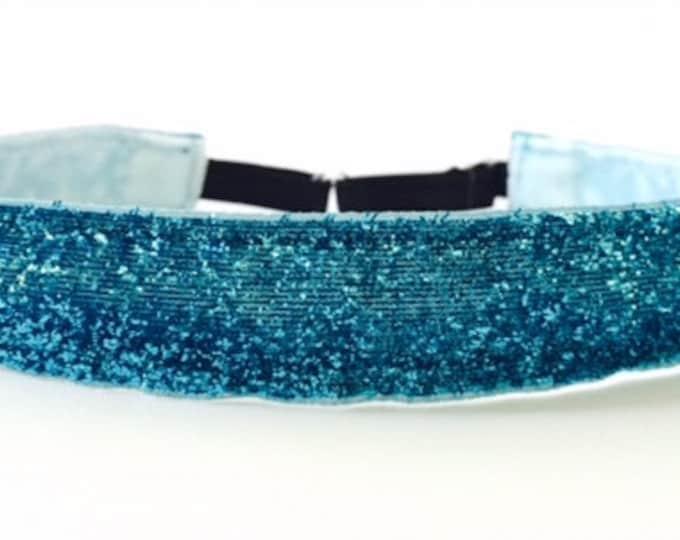 StayPut Fitness Headband - Non-Slip Adjustable Head band. Nonslip. No Slip. Non slip Turquoise Teal Glitter Workout Headband Work out