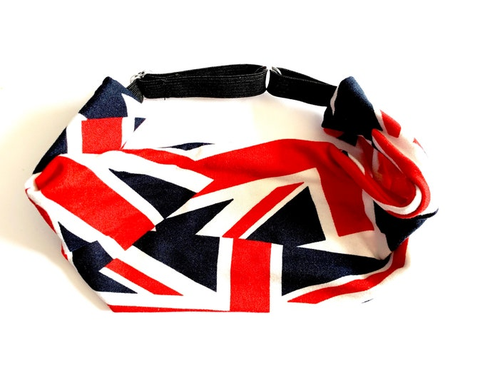 Yoga Headband, Running Headband, Fitness Headband, Workout Headband, Wide Headband, Crossfit Headband, Adjustable Headband - UNION JACK