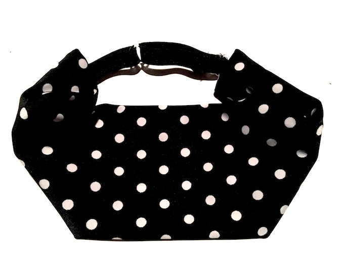 Adjustable Workout Fitness Yoga Headwrap or Headband -  Black and White Polka Dot Wicking Head Wrap