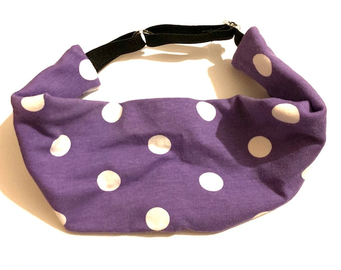 Purple Polka Dot Cotton Yoga Headband: The perfect adjustable head wrap for running, crossfit, workouts, and sports!