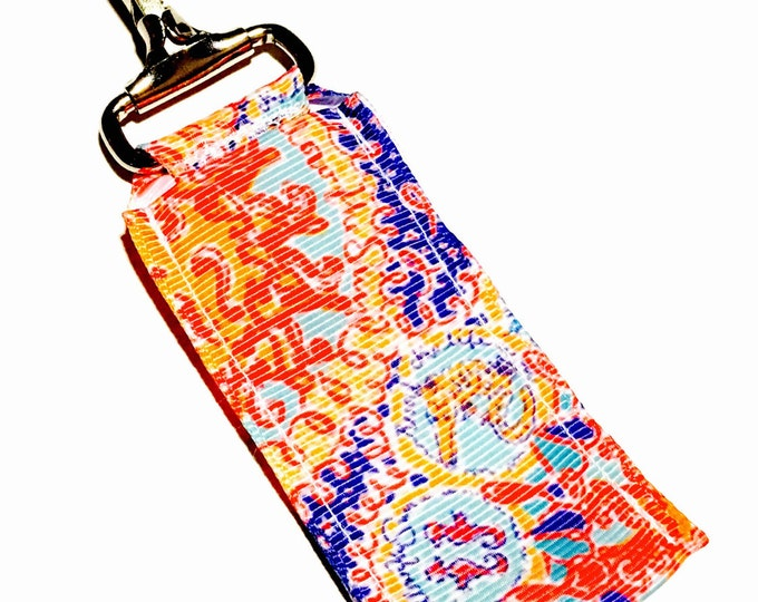 Lilly Pulitzer Inspired Key Chain Lip Balm Holder, perfect gift for nurses, coaches, athletes, teachers and more!