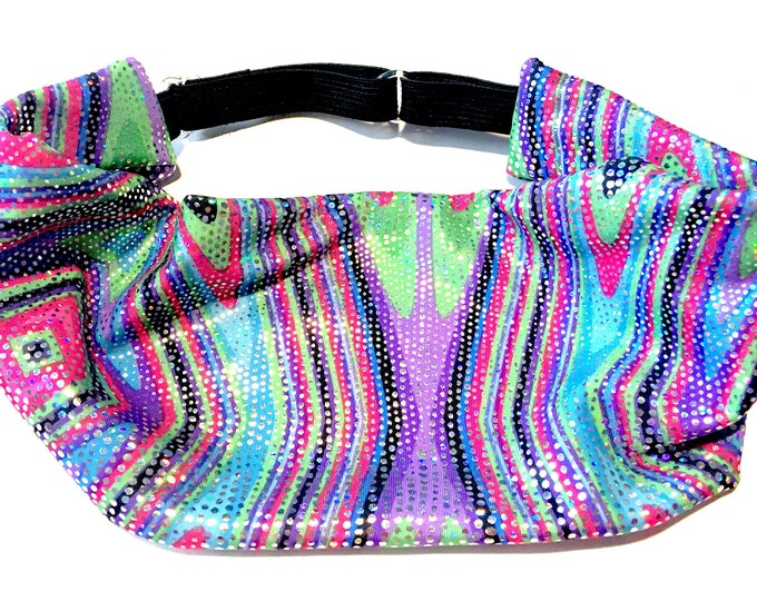 Adjustable Workout Fitness Yoga Headwrap or Headband -  Psychedelic Sparkle Wicking Head Wrap