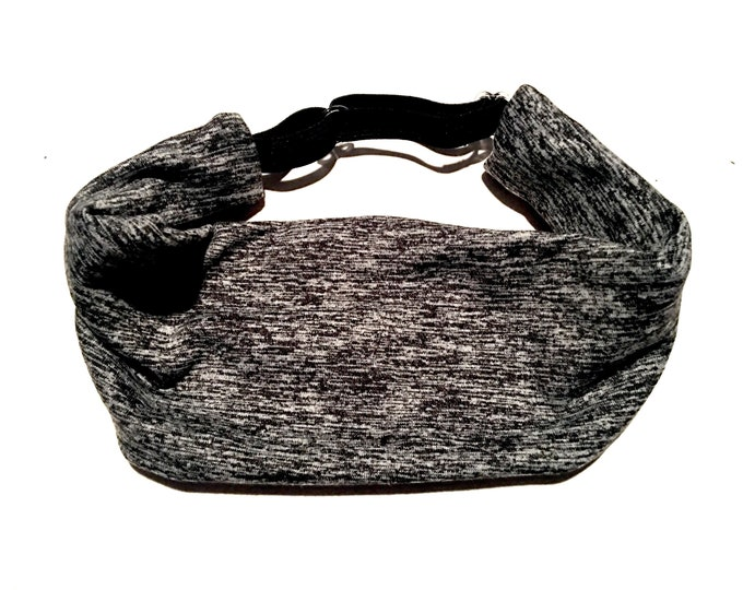 Adjustable Workout Fitness Yoga Headwrap or Headband -  Gray and Black Space Dyed Wicking Head Wrap