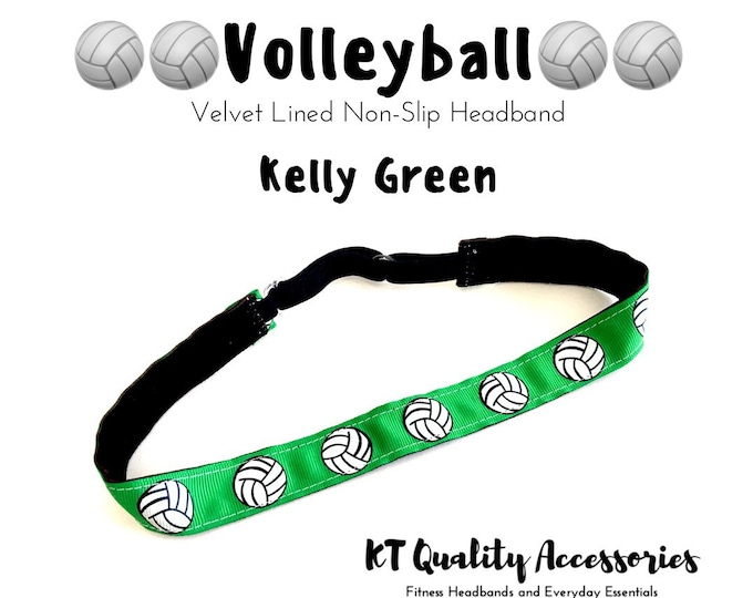 Volleyball Headband,  Fitness Headband, Workout Headband, Nonslip, No Slip Sports Headband, Adjustable - Green