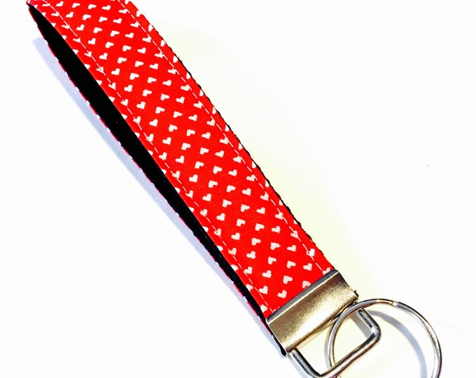 Valentine's Day Mini Hearts on Red Wristlet Key Fob Key Chain Keychain - Perfect for teachers, coaches, new drivers and more!