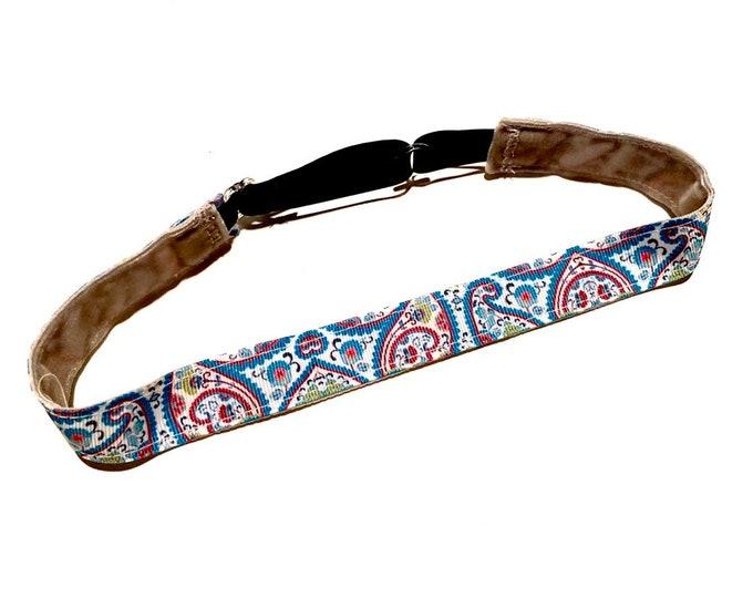 Teal Paisley Print Adjustable Non-Slip Running Headband: No Slip Fitness Band