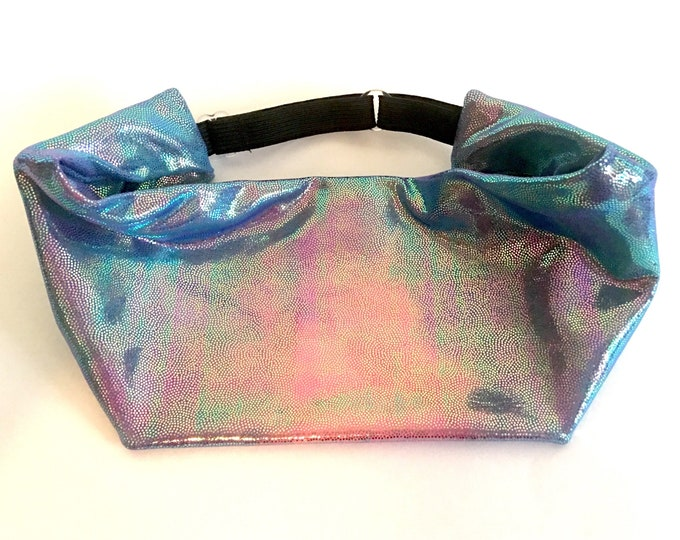 Adjustable Workout Fitness Yoga Headwrap or Headband -  Shiny Holographic Tie Dyed Wicking Head Wrap