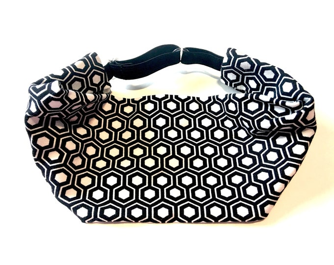 Yoga Headband, Running Headband, Fitness Headband, Workout, Wide, Crossfit Adjustable Headband - Black and White Geometric Cotton Lycra Head