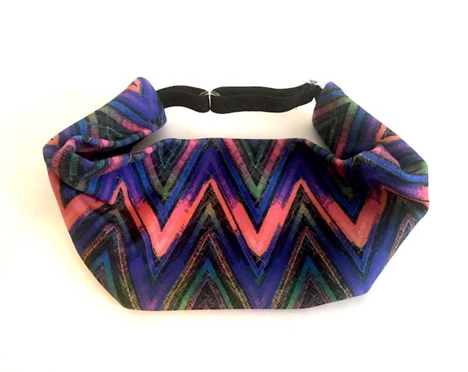 Adjustable Workout Fitness Yoga Headwrap or Headband -  Chevron Wicking Head Wrap