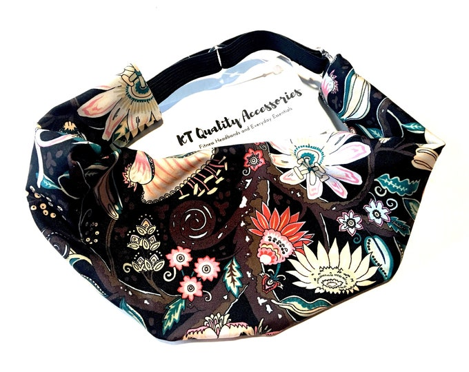 Adjustable Workout Fitness Yoga Headwrap or Headband -  Brown Floral Print Wicking Head Wrap