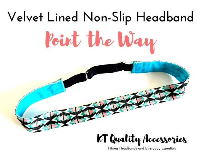Running Headband,  Fitness Headband, Workout Headband, Nonslip, No Slip Sports Headband, Adjustable, Geometic Pattern