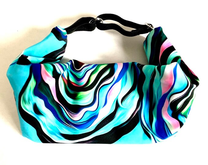 Adjustable Workout Fitness Yoga Headwrap or Headband - Large Flower Print Wicking Head Wrap