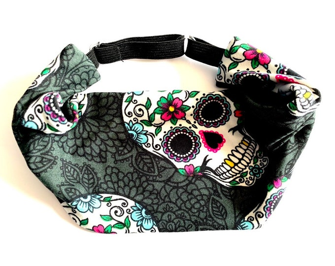 Sugar Skull Yoga Headband: The perfect adjustable head wrap for running, crossfit, workouts, and sports!
