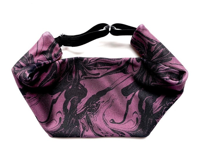 Purple Marble Print Adjustable Head Wrap: Perfect moisture wicking, performance headband for tough workouts!