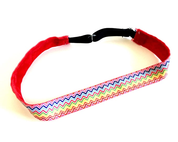 Running Headband,  Fitness Headband, Workout Headband, Nonslip, No Slip Sports Headband, Adjustable - Rainbow Chevron