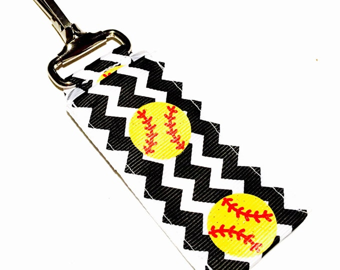 Glitter Chevron Softball Key Chain Lip Balm Holder, perfect gift for nurses, coaches, athletes, teachers and more!