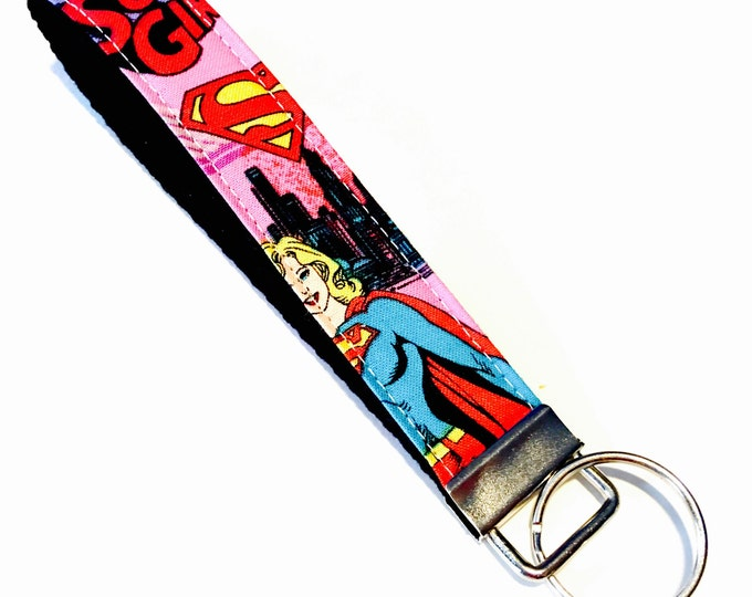 Super Girl Wristlet Key Fob Key Chain Keychain - Perfect gift for teachers, coaches, new drivers and more!