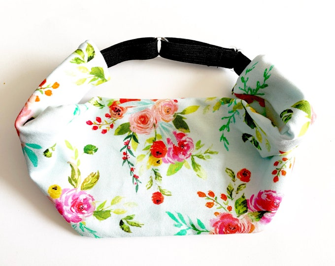 Floral on Mint Yoga Headband: The perfect adjustable head wrap for running, crossfit, workouts, and sports!