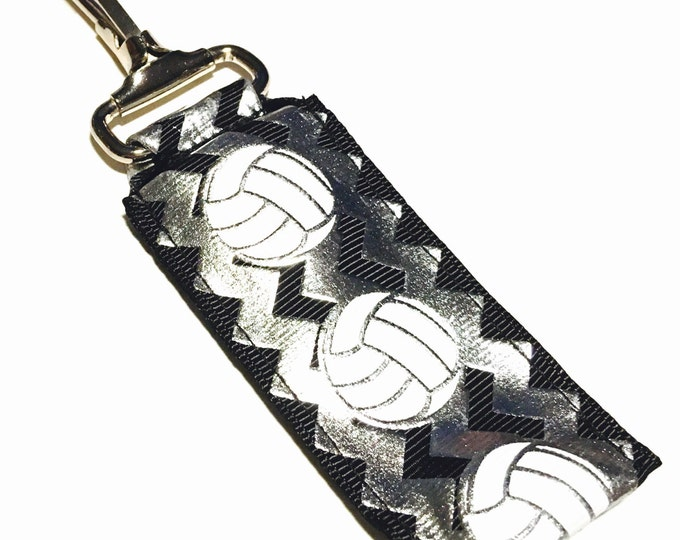 Silver Chevron Volleyball Key Chain Lip Balm Holder, perfect gift for nurses, coaches, athletes, teachers and more!