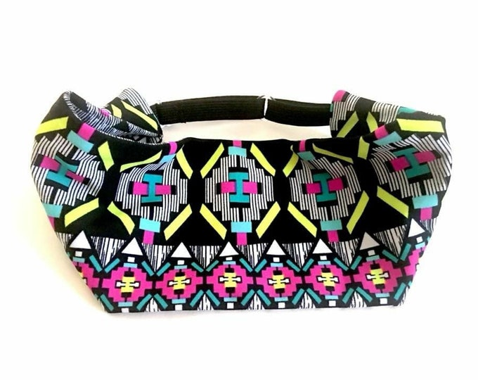Adjustable Workout Fitness Yoga Headwrap or Headband - Neon Aztec Print Wicking Head Wrap