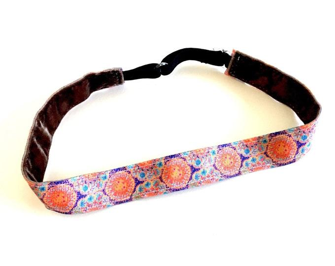 Running Headband,  Fitness Headband, Workout Headband, Nonslip, No Slip Sports Headband, Adjustable - Floral Medallion