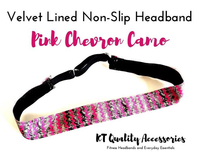 Running Headband,  Fitness Headband, Workout Headband, Nonslip, No Slip Sports Headband, Adjustable, Hot Pink Chevron Camo