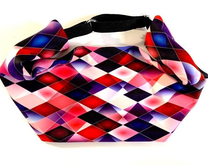 Adjustable Workout Fitness Non Slip Yoga Headwrap or Headband, Moisture Wicking - Pinks and Purples Geometric Print