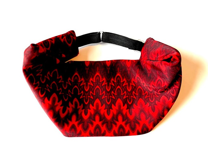 Adjustable Workout Fitness Yoga Headwrap or Headband - Red Fire Print Wicking Head Wrap