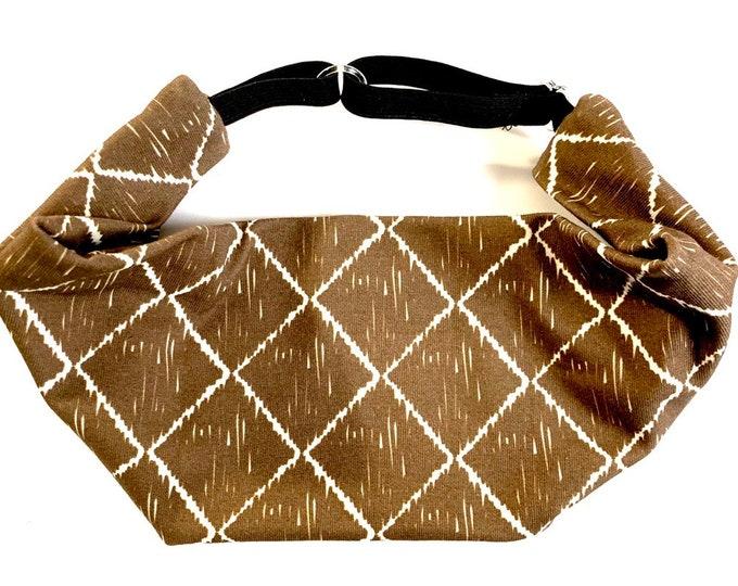 Adjustable Workout Fitness Non Slip Yoga Headwrap or Headband, Moisture Wicking - Brown Geometric Print