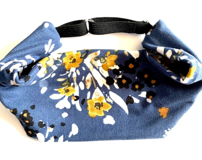 Navy and Mustard Floral Yoga Headband: The perfect adjustable head wrap for running, crossfit, workouts, and sports!