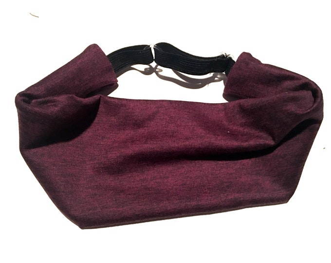 Adjustable Workout Fitness Yoga Headwrap or Headband -  Cranberry and Black Space Dyed Wicking Head Wrap