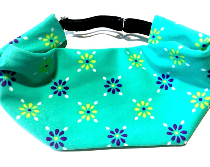 Adjustable Workout Fitness Yoga Headwrap or Headband -  Teal Floral Wicking Head Wrap