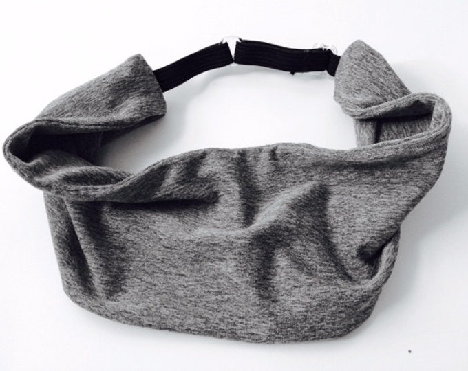 Adjustable Workout Fitness Non Slip Yoga Headwrap or Headband - Gray Heathered Headband, Moisture Wicking