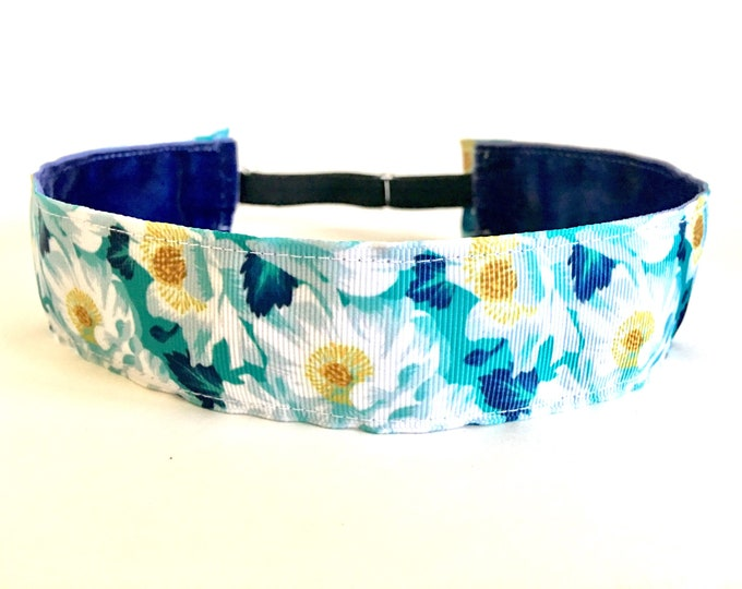 "Running Headband,  Fitness Headband, Workout Headband, Nonslip, No Slip Sports Headband, Adjustable - 1.5"" Floral Headband"