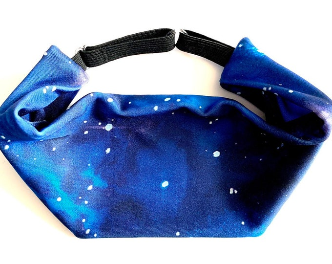 Adjustable Workout Fitness Non Slip Yoga Headwrap or Headband, Moisture Wicking - Outer Space Cosmic