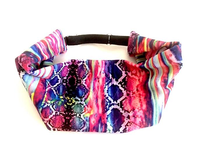 Adjustable Workout Fitness Yoga Headwrap or Headband -  Rainbow Snakeskin Wicking Head Wrap
