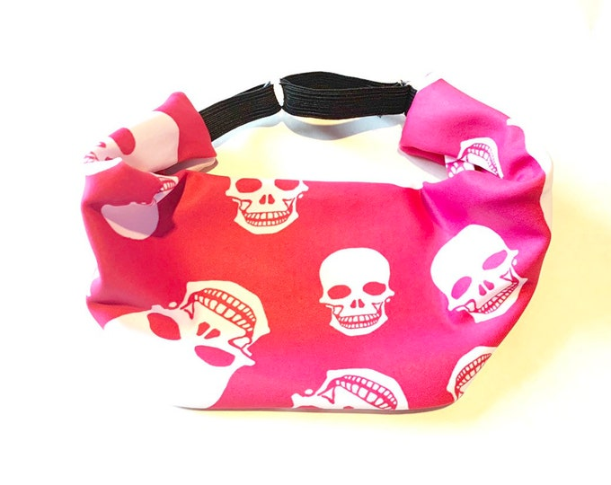 Pink and White Skull Print Adjustable Head Wrap: Perfect moisture wicking, performance headband for tough workouts!