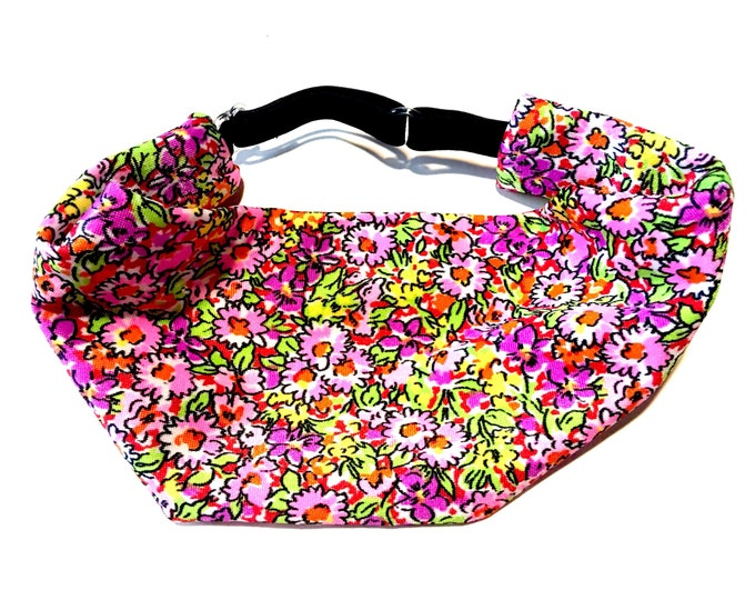 Adjustable Workout Fitness Yoga Headwrap or Headband - Pink Floral Print Wicking Head Wrap