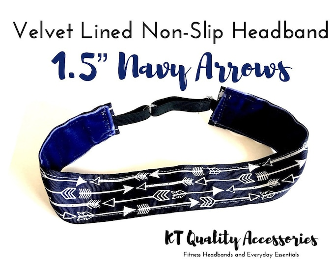 "1.5"" Running Headband,  Fitness Headband, Workout Headband, Nonslip, No Slip Sports Headband, Adjustable, Navy Arrows"