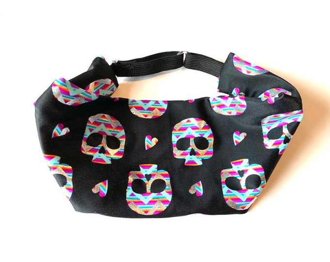 Adjustable Workout Fitness Yoga Headwrap or Headband - Holographic Skull Print Wicking Head Wrap