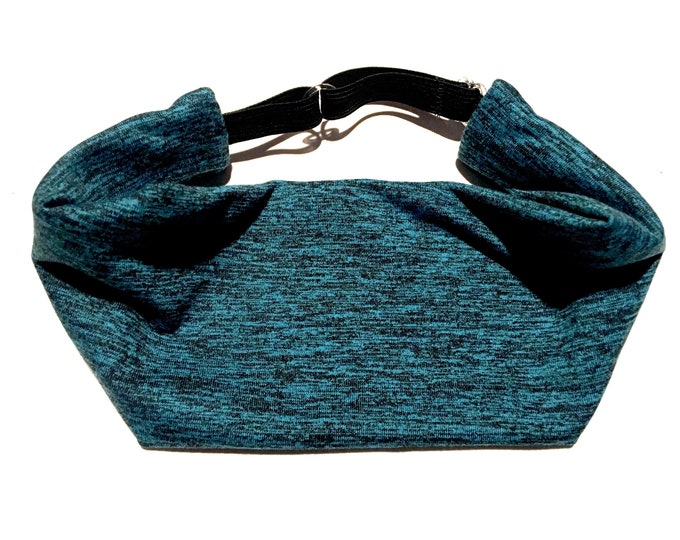 Adjustable Workout Fitness Yoga Headwrap or Headband -  Teal and Black Space Dyed Wicking Head Wrap