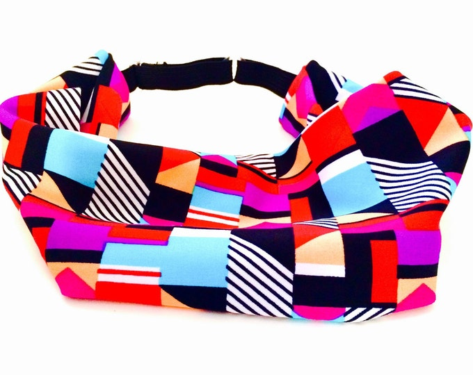 Adjustable Workout Fitness Non Slip Yoga Headwrap or Headband - Multi Color Colorful Geometric Shapes Stretch Moisture Wicking Performance