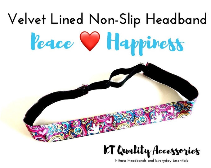 Running Headband,  Fitness Headband, Workout Headband, Nonslip, No Slip Sports Headband, Adjustable, Peace, Love and Happiness